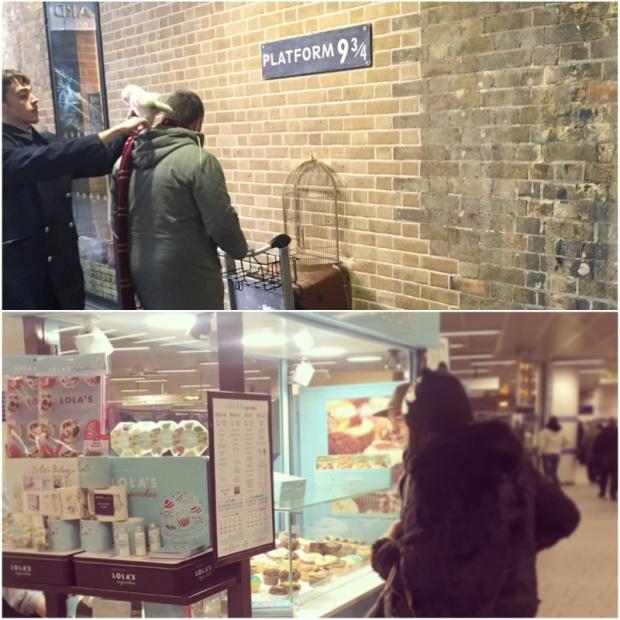 Nástupiště devět a třičtvrtě a stnek s cupcakes, na který narazíte, když chcete jít na Kings Cross do metra.