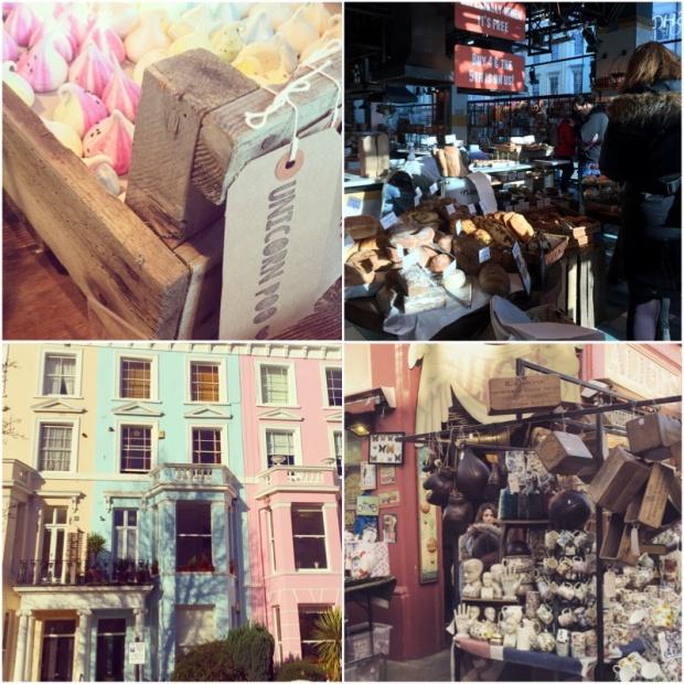 V horní části obchod Jamieho Olivera, dole pak pohled na domy v Notting Hillu a vetešnictví na Portobello Marketu.