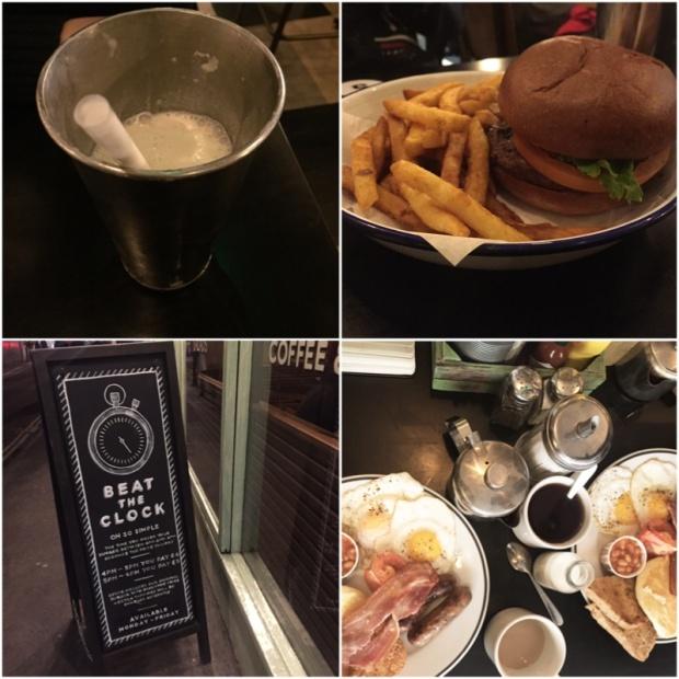 Restaurace Grill Shack. Milkshake, burger drahý nebo levný podle času a naše anglická snídaně.
