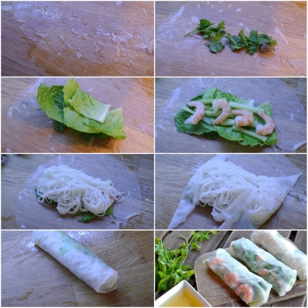 Přibližný postup přípravy závitku. Můžete víc zeleniny, bylinek, víc masa, míň nudlí... záleží na vaší chuti.