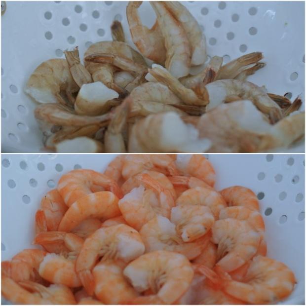 Nevyloupané krevety před a po vaření. Krásná barevná proměna.